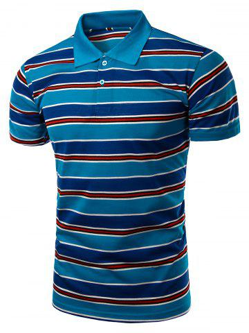 Buy Stylish Men's Turn-Down Collar Striped Print Short Sleeve Polo T-Shirt