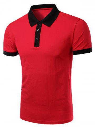 Discount Casual Men's Turn-Down Collar Color Block Short Sleeve Polo T-Shirt