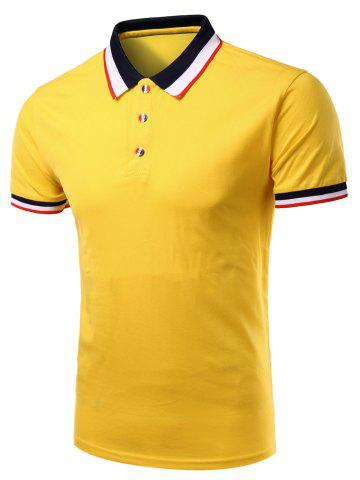 Best Stylish Men's Turn-Down Collar Color Block Short Sleeve Polo T-Shirt