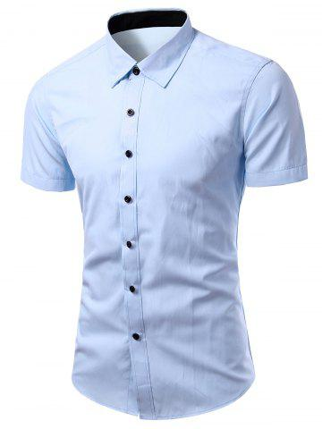 Trendy Simple Men's Turn-Down Collar Solid Color Short Sleeve Shirt