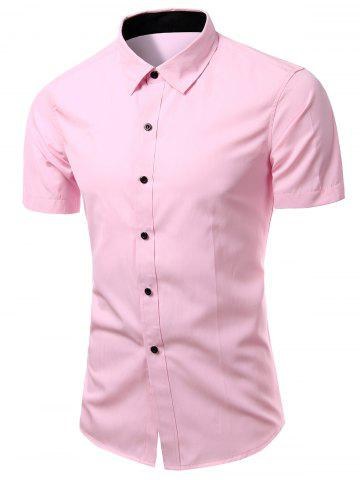 Fancy Simple Men's Turn-Down Collar Solid Color Short Sleeve Shirt