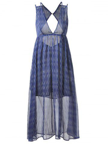 Plunging Neck Empire Waist Midi Boho Dress - Blue And White - M