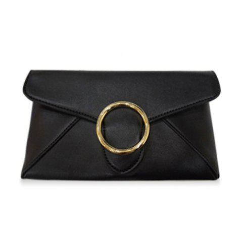 Latest Fashion Black Color and Metal Design Clutch Bag For Women