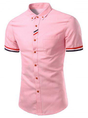Online Stylish Men's Turn-Down Collar Striped Short Sleeve Button-Down Shirt