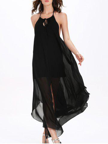 Chic Flowy Backless Chiffon Maxi Cocktail Dress - L BLACK Mobile