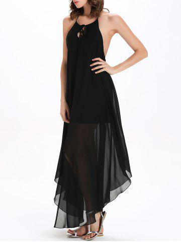 Discount Flowy Backless Chiffon Maxi Cocktail Dress - L BLACK Mobile