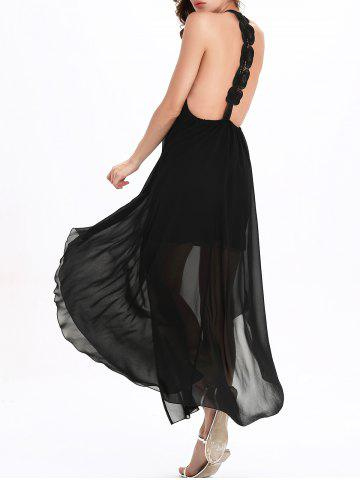 Outfits Flowy Backless Chiffon Maxi Cocktail Dress - L BLACK Mobile