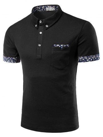 Chic Turn-Down Collar Flower Print Edging Short Sleeve Button-Down Polo T-Shirt For Men
