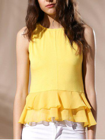 Affordable Sexy Round Neck Ruffled Solid Color Top For Women YELLOW L