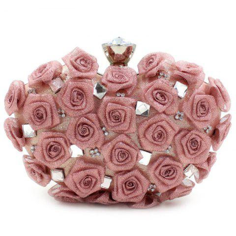 Shops Chic Rose and Rhinestone Design Evening Bag For Women