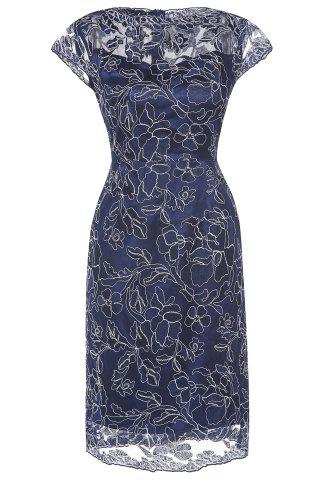 Hot Embroidered Cap Sleeves Bodycon Dress For Women