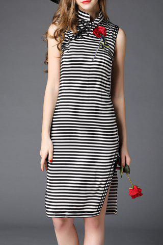 Hot Mandarin Collar Striped Rose Embroidery Dress