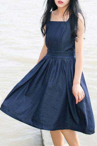 Unique Square Neck Pleated Solid Color Sleeveless Dress