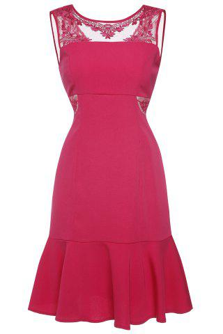 Affordable Embroidered Backless Ruffled Dress ROSE L