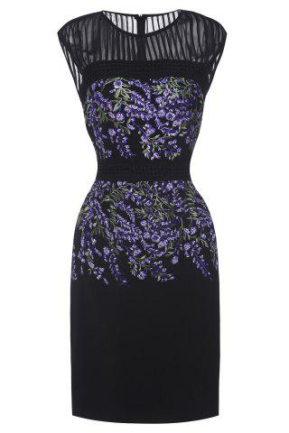 Chic Floral Embroidered Sleeveless Bodycon Dress For Women