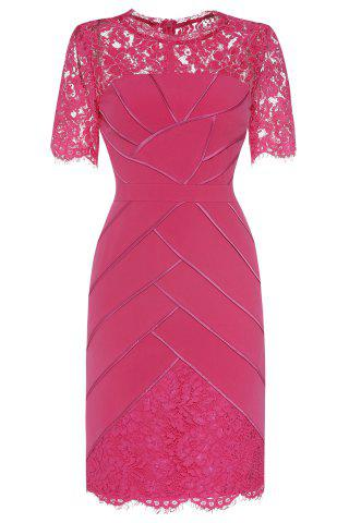Lace Panelled Wedding Tea Length Dress - Rose - L