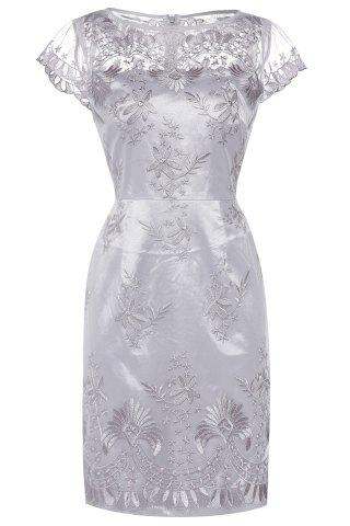 Fashion Embroidered Mesh Midi Dress