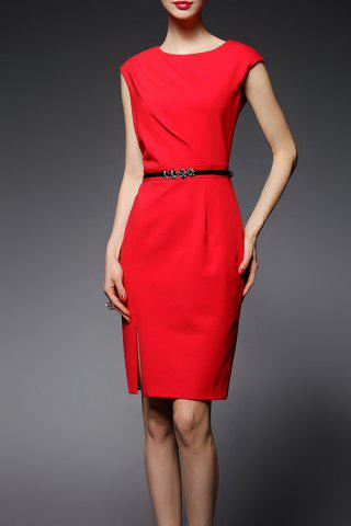 Cheap Jewel Neck Sheath Work Dress
