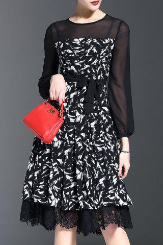 Online Lace Trim Print Midi Dress
