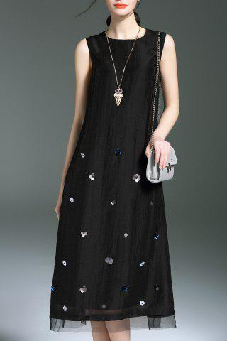 Affordable Sequined Sleeveless Midi Dress For Women