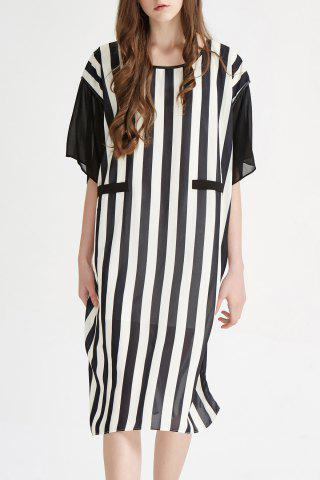 Hot Scoop Neck Striped Midi Dress