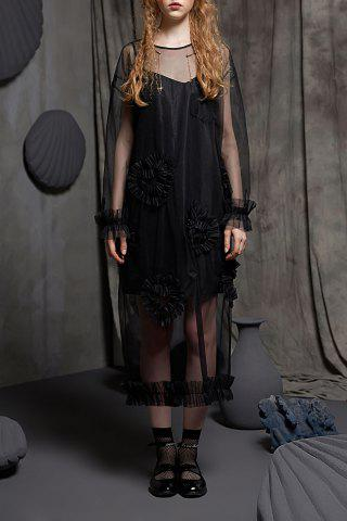 Chic Sheer Heart Shirred Dress