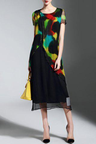 Trendy Asymmetrical Colorful Print Dress
