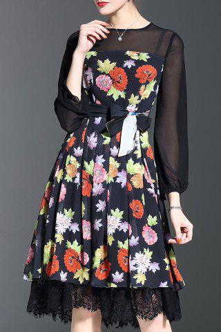 Online Lace Trim Flower Print Midi Dress