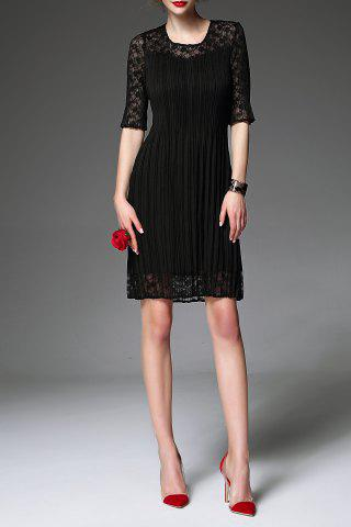 Trendy Solid Color Pleated Lace Sleeve Dress