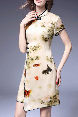 Outfit Mandarin Collar Printed Cheongsam Dress APRICOT S