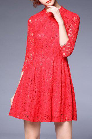 Online Three Quarter Sleeve Frog Lace Dress