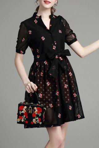 Shop Tiny Flower Embroidered Bowknot Dress