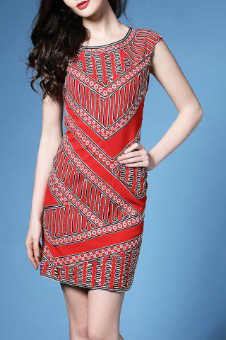 Hot Straight Fitted Geometric Print Dress