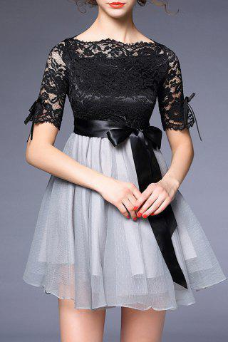 Buy Bowknot Embellished Lace Spliced Dress BLACK/GREY XL