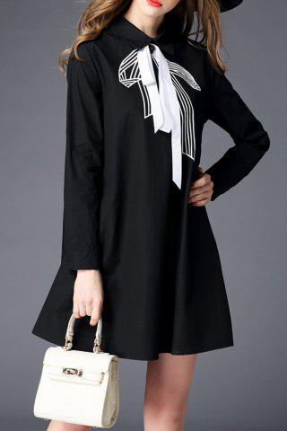 Outfits Flat Collar Long Sleeve Bow Tie Dress