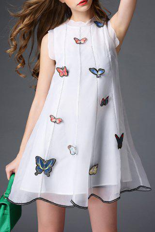 Fashion Stand Neck Butterfly Embroidery Organza Dress