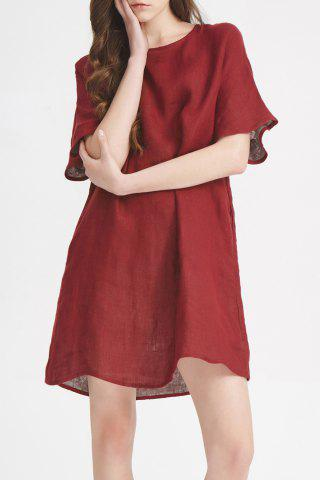 Store Solid Color A Line Linen Dress