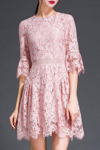 Store Flare Sleeve Floral Pattern Lace Dress