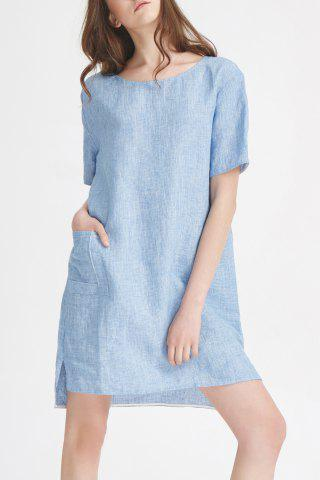Shops Front Pocket Linen Mini Dress