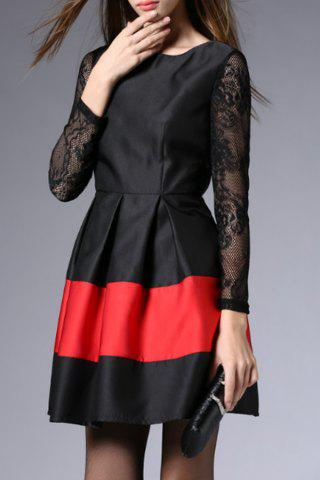 Latest Color Block Lace Sleeve Ball Dress