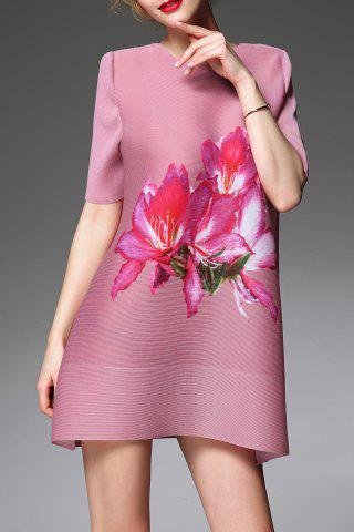 Hot A Line Floral Print Ruched Dress