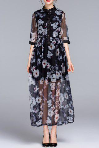 Online See Through Floral Print Shirt Dress