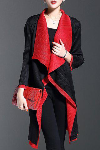 Fashion Color Block Waterfall Coat