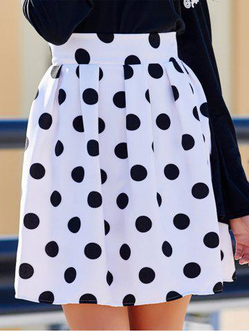 Buy Sweet High-Waisted Polka Dot Ruffled Women's Skirt WHITE AND BLACK XL