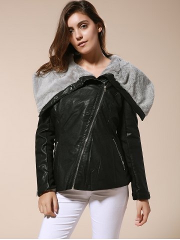 Outfit Stylish Turn-Down Collar Long Sleeve Zippered Women's Leather Black Jacket - L BLACK Mobile