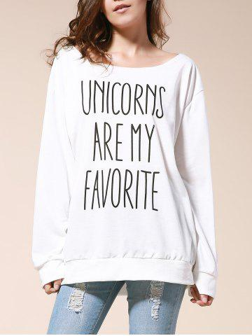 Sexy Skew Neck Letter Printed Pullover Sweatshirt For Women