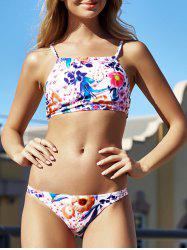 Alluring High Neck Floral Print Bikini Set For Women - COLORMIX M