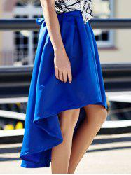 Stylish High-Waisted Pure Color Asymmetrical Ruffled Women's Skirt - BLUE