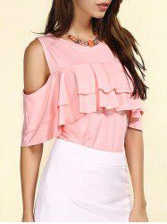 Stylish Jewel Neck Cut Out Flounce T-Shirt For Women -