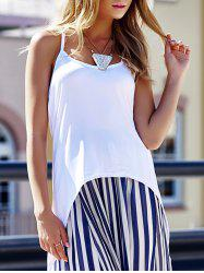 Stylish Spaghetti Strap High-Low Hem Criss-Cross Tank Top For Women - WHITE